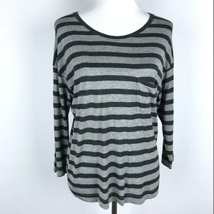 Vince Gray Striped Casual Top Scoop Neck Blouse M